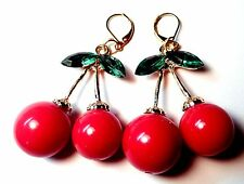 Artist Made RED LUCITE CHERRY Faceted Glass Leaves Leverback Pierced Earrings