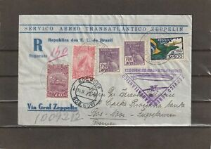 Brazil 1.o VOO SETEBRO 1933 REGISTERED ZEPPELIN COVER to Yugoslavia Bosnia
