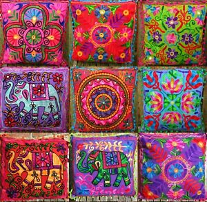 INDIAN CUSHIONS SUZANI Covers NEON EMBROIDERED Mirrors BOHO 40cms INC INNERS