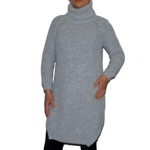 Maternity Grey Burgundy Long Warm Loose Baggy Wool Turtleneck Winter Jumper 12