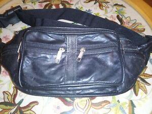 Vintage Black Zipped Bum Bag 6 pockets