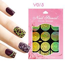 9 Tips/Sheet Nail Vinyls Stencil Stickers Mosaics Hollow Nail Art Manicure Y015