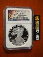2014 W PROOF SILVER EAGLE NGC PF70 ULTRA CAMEO EARLY RELEASES PURPLE HEART LABEL