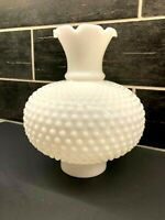 Milk Glass Globe Oil Lamp Chimney Student Library White Hobnail Ruffled