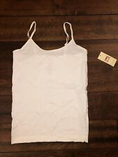 lei Juniors Cami Top Adjustable Straps Seamless Stretchy Fabric White Size L/XL