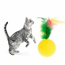 Pet Cat Teaser Golf Ball Feather Toys Squeaky Chew Play Intelligent Interactive