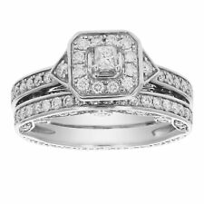 1 1/4 CT Diamond Wedding Engagement Ring Set 14K White Gold Size 7