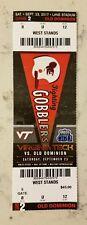 Virginia Tech Hokies Old Dominion Monarchs Football Full Ticket 9/23 2017 Stub