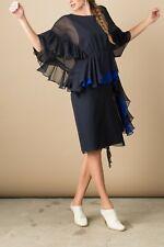 Rachel Comey Silk Tousle Dress in Midnight Blue Sheath Dolman Sleeves Size 6