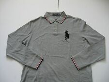 POLO RALPH LAUREN Men's Gray Relaxed-Fit Long-Sleeved Big Pony Mesh Polo XL