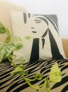 DECORATIVE SOFA THROW PILLOW CUSHION COVER WITH A HANDPAINTED EGYPTIAN ART 16X16