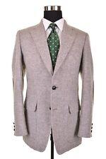 VTG TWEED Light Gray Herringbone Elbow Patch Pocket Sport Coat Jacket 38 R