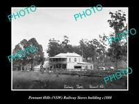OLD POSTCARD SIZE PHOTO OF PENNANT HILLS NSW RAILWAY STORES BUILDING c1880