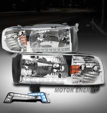 94-01 DODGE RAM TRUCK LED STRIP CHROME CRYSTAL HEAD LIGHT LAMP W/BLUE DRL CORNER