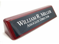 Desk Name Plate rosewood piano finish desk wedge with carbon fiber look plate