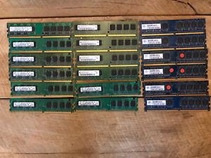 Job Lot 18 X Ram Memory Dimm Sd Ram 512mb Gold Recovery Chips Samsung Nanya