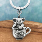 Australian Tea Cup Baby Koala Souvenir Pewter Keychain Australiana Gift