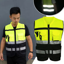 Safety Vest Reflective Driving Jacket Worker Night Security Waistcoat Set Hi Vis
