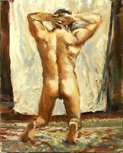 """Nude Male Kneeling Back View Figure Painting Signed Oil Stretched Canvas 10x8"""""""