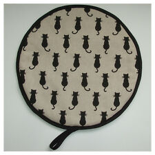 Black Cat Aga Range Hob Hotplate Hat Lid Mat Cover with Loop Cook Cats Pad