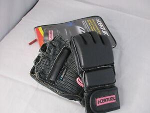 Century Women's Leather Wrap Bag Gloves MMA M/L Black Pink Trim w/Carry Bag