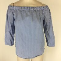 Zara Woman Top shirt size medium blue striped off the shoulder cotton