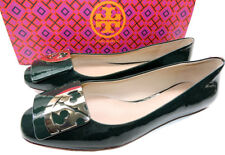 Tory Burch Square Toe Gold Logo Flats Jitney Green Patent Leather Ballerina 9