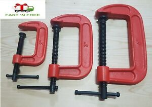 """HEAVY DUTY G - CLAMPS 2"""" 3"""" 4"""" JAW PADS CLAMPS 50mm 75mm 100mm WOODWORK DIY"""
