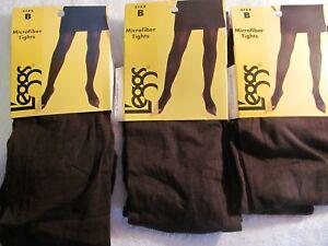 3 pair Leggs Microfiber Tights Brown Size B   #032277