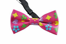 New Men Women Faux Leather Pink Poker Cards Paint Bow Tie Bowtie Wedding Party