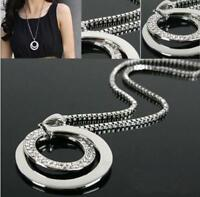 Women Long Chain Fashion Crystal Rhinestone Silver Plated Pendant Necklace Gift