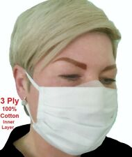Washable Face Mask Breathable Three Layers Protection Office Street Salon White