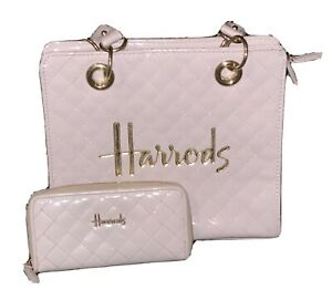 Harrods Baby Pink Quilted Patent Tote Bag And Purse Set