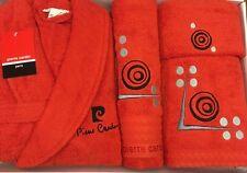 Pierre Cardin L/XL 4 pezzi Accappatoio Asciugamano Set rosso nero Punti D'ARGENTO 100% COTONE
