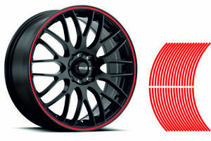 """6mm wheel rim tape striping stripes stickers upto 18"""" RED.(38 pieces/9 per wheel"""