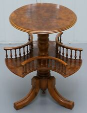 RESTORED BURR WALNUT VICTORIAN REVOLVING BOOKCASE SIDE LAMP TABLE GALLERY RAIL