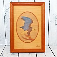 """Nelson Wood Eagle Picture Hudson River Inlay Signed Art Marquetry 9.75"""" x 6.75"""""""