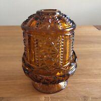 "Vintage Indiana Glass Stars & Bars Fairy Light Lamp Amber Glass 7"" 2 Piece"
