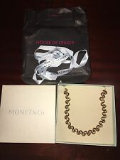 "Monet & Co Custom Gold Tone Necklace 17"" Brand New Never Worn Includes Box & Bag"