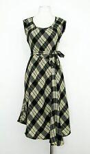 Ladies Monsoon black beige wool blend tartan plaid check lined work dress size 8