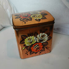 1950's retro kitsch Brooke's and Beaty Tea Tin 12.5 x11x13.5cm