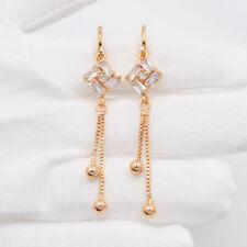 18K Yellow Gold Filled Clear Mystic Topaz Women Long Drop Tassel Earrings