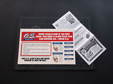 VINTAGE O.S.MAX R/C MODEL PLANE ENGINE GLOW PLUG CHART CARD W/COUPON *VG-COND*