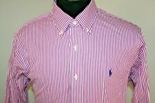 Ralph Lauren Mens Slim Fit Long Sleeve Button Down Shirt Size Large Pink Striped