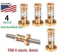 4 sets of 8mm T8x2 Lead Screw Trapezoidal ACME Brass Anti-Backlash Nut
