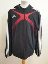GG964 MENS ADIDAS CLIMACOOL BLACK RED HOODIE TRACKSUIT JACKET UK L EU 52