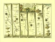 Nottingham to Grimsby inc. Newark, Lincoln Replica 17c OGILBY Old Road Map