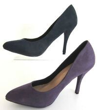 Spot On F9R672 Ladies Court Shoes In Navy Or Purple Microfibre Sizes 3 to 8 R2B
