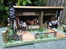 BESPOKE! OLD SAW MILL/STABLE, WOODEN, FARM BUILDING FOR 'SCHLEICH' FARM ANIMALS
