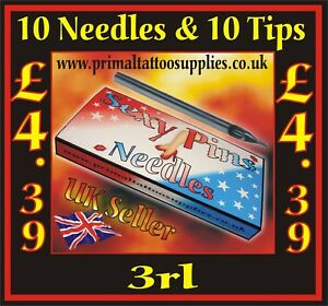 10 Sexy Pins Tattoo Needles 3 round liner + 10 Disposable Long tips 3 round